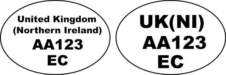 Example of identification oval mark: 'United Kingdom (Northern Ireland) AA123 EC', 'UK(NI) AA123 EC'