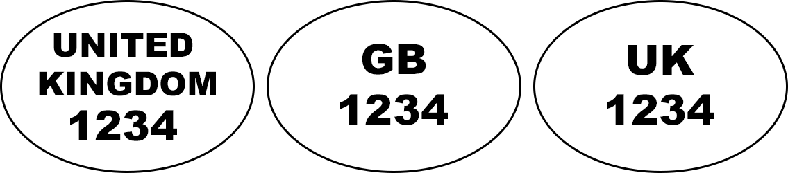 Examples of health and identification oval marks: 'UNITED KINGDOM 1234', 'GB 1234', 'UK 1234'