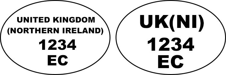Examples of health and identification oval marks: 'UNITED KINGDOM (NORTHERN IRELAND) 1234 EC', 'UK(NI) 1234 EC'