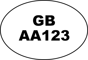 Example of oval identification mark: 'GB AA123'