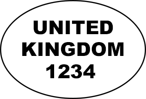 Example of oval health and identification marks: 'UNITED KINGDOM 1234'