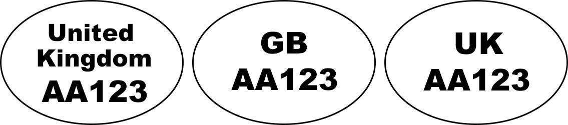 Example of identification oval mark: 'United Kingdom AA123', 'GB AA123', 'UK AA123'