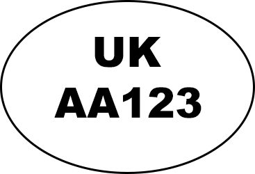 Example of oval identification mark: 'UK AA123'