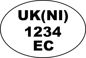Example of oval health and identification marks: 'UK(NI) 1234 EC'