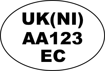 Example of oval identification mark: 'UK(NI) AA123 EC'