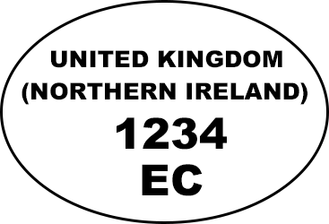 Example of oval health and identification marks: 'UNITED KINGDOM (NORTHERN IRELAND) 1234 EC)'