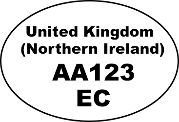 Example of oval identification mark: 'United Kingdom (Northern Ireland) AA123 EC'