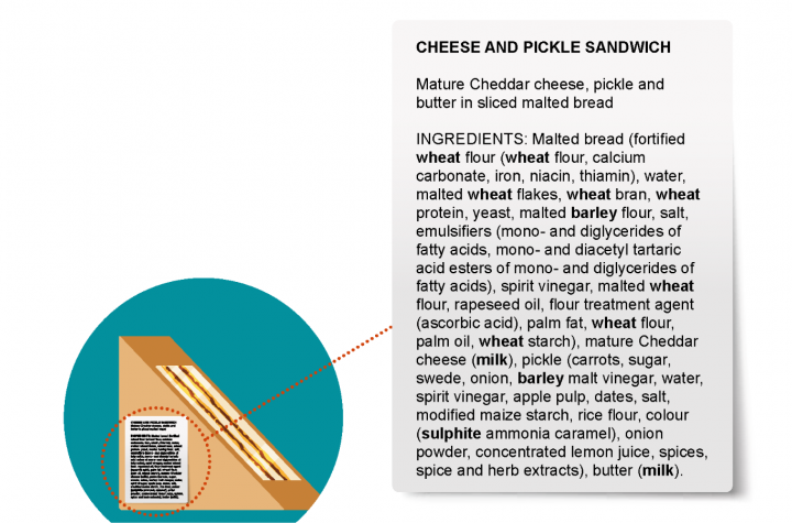 Cheese and pickle sandwich Ingredients list